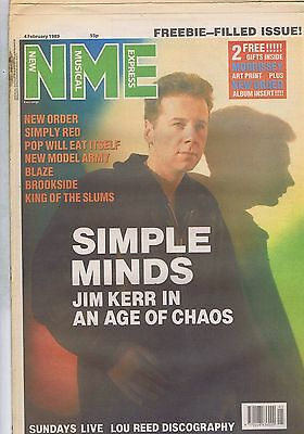 JIM KERR SIMPLE MINDS / NEW ORDER / KING OF THE SLUMS NME 4 Feb 1989