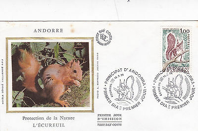 Andorra 1978 Nature Protection Red Squirrel Silk Unadressed FDC