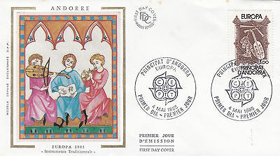Andorra 1985 Europa Musical Instruments Silk Unadressed FDC