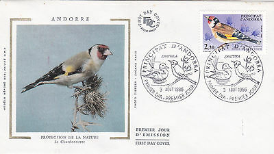 Andorra 1985 Nature Protection Goldfinch Silk Unadressed FDC