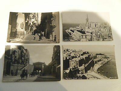 Four Vintage Postcards Of Valletta Malta Unposted Real Photographs