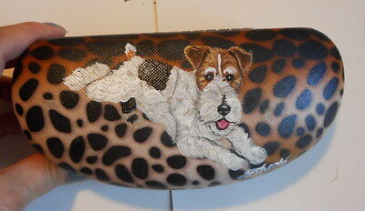 Fox Terrier Dog Hand Painted Eyeglass Case Simulated Leather