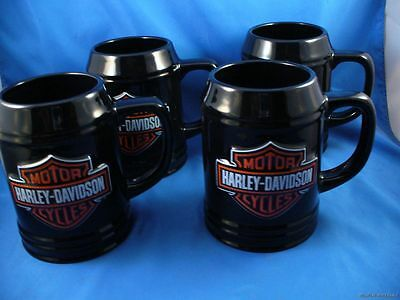 WHOLESALE LOT OF 4 HARLEY BIKER BEER STEIN CERAMIC MUGS LICENSED 20oz coffee HD