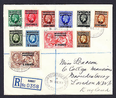 1937 British PO in Rabat Morocco Agencies registered cover KGV Seahorse stamps