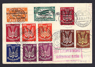 Deutsche Flugpost German Airmail stamps some with overprints on 1923 postcard