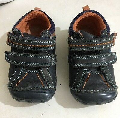 Hush Puppies Infant Boys First Walker Navy 100% Leather-Shoes Size 4G