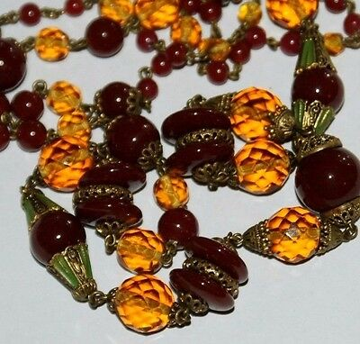 Beautiful long Vintage  Czech Glass Beads. 1930s. Neiger Brothers.