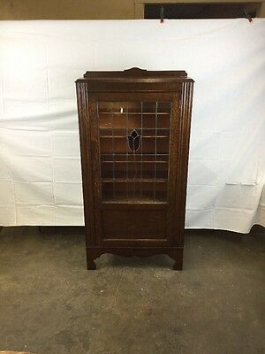 Antique Oak Leaded Glass Bookcase With Stain Glass Panel