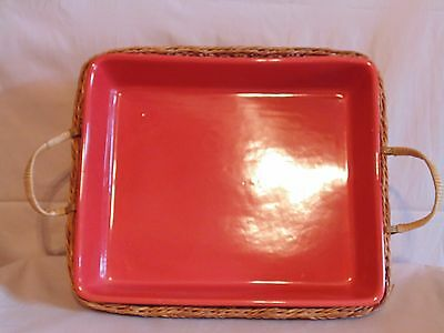"Temp-tations Presentable Ovenware Casserole Dish 12 1/2"" x 10"" Orange w/ Basket"