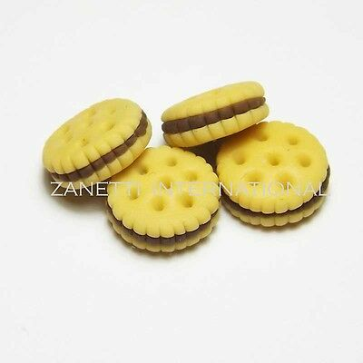 Set of 4 Dollhouse Miniature Chocolate Cookies * Doll Mini Food Biscuit Cookie
