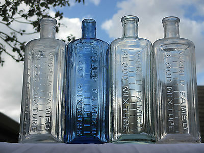Stunning Set Of 4 Clarke's Of Lincoln Blood Mixture Bottles Chemist Poison Old