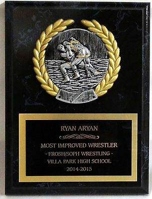 "Wrestling - Coach's / Sponsor / Wrestler Plaque - 5"" x 7"""" with PM5118"