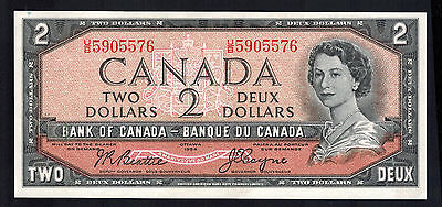 1954 CANADA TWO DOLLAR NOTE SCARCE Be/Co IN A/U UNC COND # UB5905576 Be/Coyne