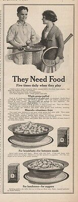 1923 Quaker Oats Puffed Wheat Rice Cereal Tennis theme Children Need food ad