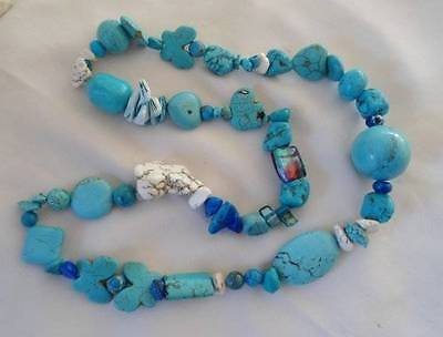 Vintage Hand Made Faux Turquoise Bead Necklace Butterfly Elephant Art Glass
