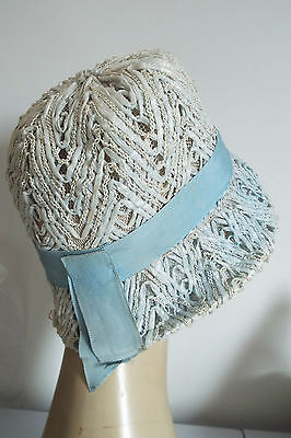 Vintage Hat Ivory With Blue Band  Semi Cloche