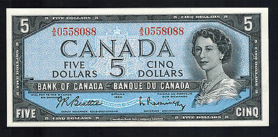 1954 CANADA FIVE DOLLAR NOTE IN UNCIRCULATED COND. # AS0558088 Be/Ra