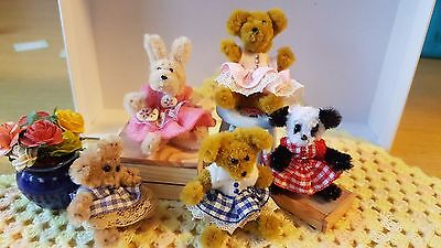 "MINIATURE 1"" artist made dressed teddy bear bunny 1:12th scale dolls house OOAK"