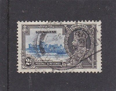 "Gibraltar 1935 Silver Jubilee sg 114a - "" Extra Flagstaff "" - Fine Used - B020"