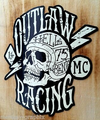 Outlaw 1% Oldschool vintage Aufkleber Bobber Biker Retro Sticker USA Chopper L