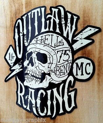 Outlaw 1% Oldschool vintage Aufkleber Bobber Biker Retro Sticker USA Chopper XL