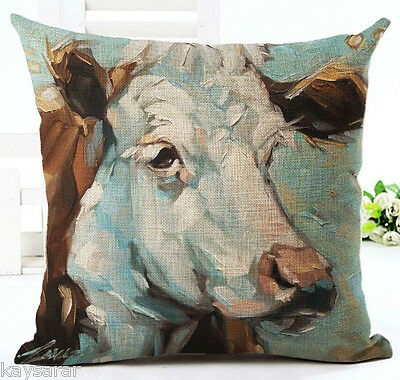 Oil Painted COW Cotton-Linen New CUSHION COVER, Natural Case, HEIFER, UK SALE