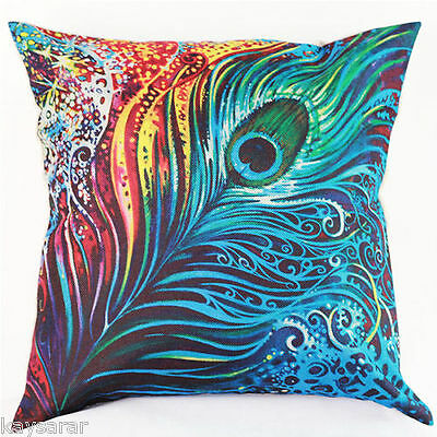 UK Sale: PEACOCK FEATHER Cotton-Hessian New CUSHION COVER Natural Classic Case
