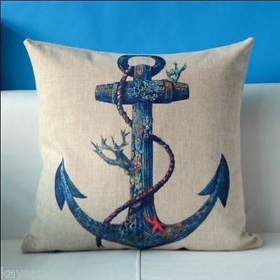BLUE ANCHOR Cotton-Linen Tattoo New CUSHION COVER Natural Classic Case, GB Sale