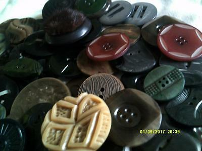 79 Vintage Art Deco Buttons Bakelite And Plastic Mixed Lot
