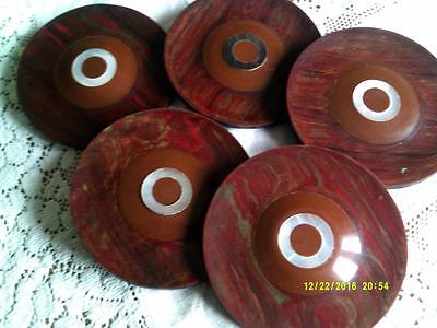 5 LARGE RED BAKELITE BUTTONS MOTHER OF PEARL CENTER BRASS SHANK 1920s ART DECO