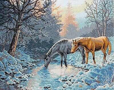Dimensions Cross Stitch Kit - Gold Collection, Frosty Morning, Horses