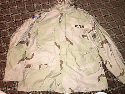 Military COLD WEATHER COAT size large and size large long Desert Camo Hood