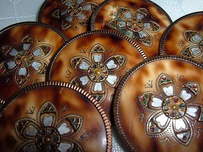 Vintage Set Of 7 Edwardian Buttons Faux Tortoise Shell And Mop