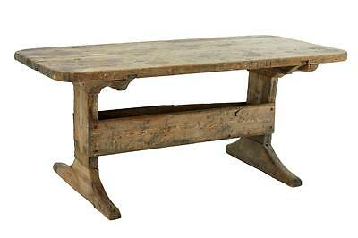 Swedish 18Th Century Pine Trestle Kitchen Small Dining Table