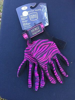 Noble Equine Perfect Fit Pink Zebra Gloves Size 6 Ladies