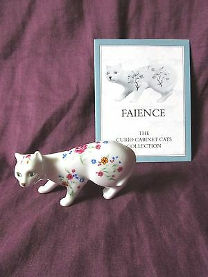 Franklin Mint Curio Cabinet Cat - Faience - With Card - Circa 1988