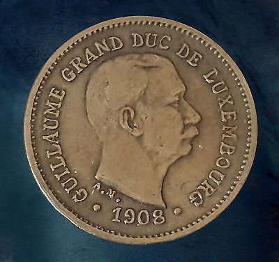 Pièce monnaie coin munt moneda 1908 - 5 centimes - Guillaume IV - Luxembourg 货币