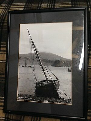 Large Isle Of Skye Framed Photo Print B&w Boats In Bay - From A Vintage Postcard