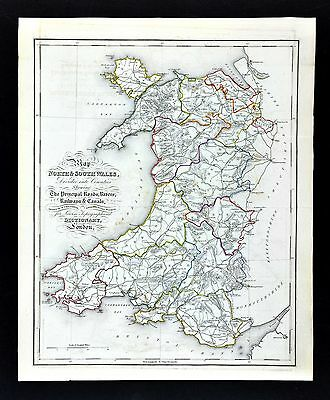1831 Lewis County Map of Wales Cardiff Swansea Newport Wrexham Barry Neath UK