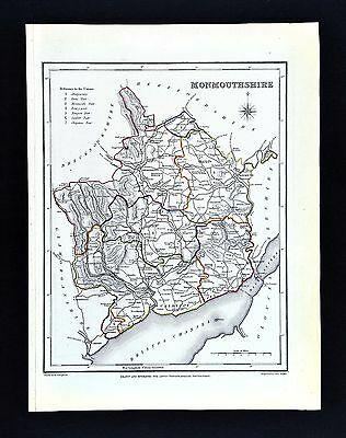 1831 Lewis Map Wales - Monmouthshire - Monmouth Newport Abergavenny Chepstow Usk