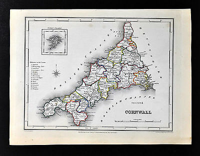 1831 Lewis Map England - Cornwall  Falmouth Penzance Helston Callington St. Ives
