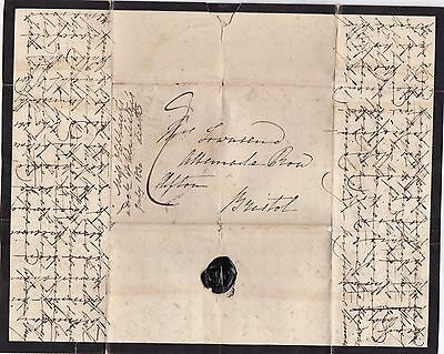 1832 Malvern Wells Penny Post Cross-Written Mourning Letter Oliphant To Townsend