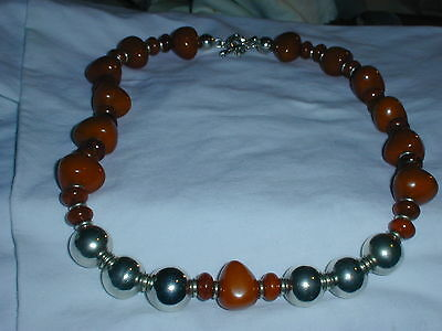 Great Charles Krypell Bold Sterling Amber Like Bead Necklace- 148+ Grams!