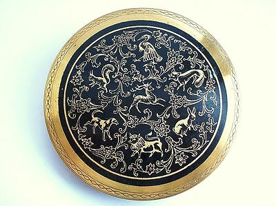 Unusul Vintage Chinese Astrology Signs Powder Compact Makeup Case Great Britain