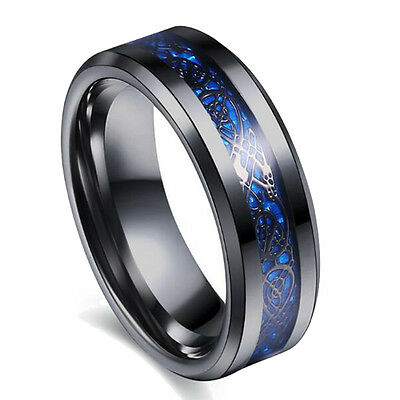 316L Stainless Steel Black Plated Men's Fashion Ring Women's Blue Wedding Band