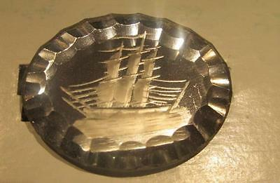 Tall Ship Etching on Vintage Oval Scallop-Edged Glass Brooch Pin