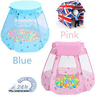 Childrens Kids Baby Tent Ball Pit Playhouse pop up + 100 balls UK Ship