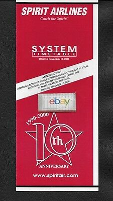 """Spirit Airlines System Timetable 11-10-2000 """"10Th Anniversary"""" Catch The Spirit"""