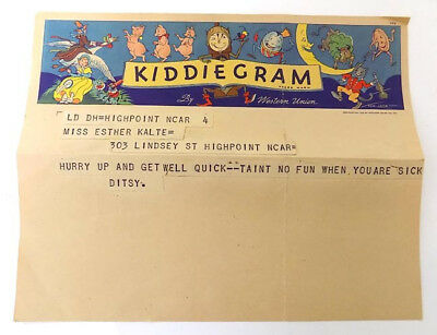1936 Western Union Kiddiegram Nursery Rhyme Drawing by Tom Lamb