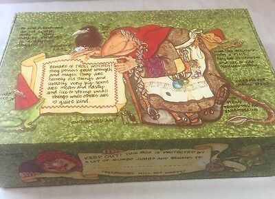 Vintage General School Box Beware of Troll Witches mystical crayons Enchanted